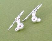 water molecular earrings - H2O molecule - in solid sterling silver