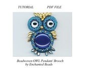 PDF File Comercial Tutorial . DIY. Blue Owl Pendant/ Brooch . Beadwoven Owl . Seed Beads . Beadwork - Instructions by enchantedbeads on Etsy