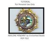 PDF File COMMERCIAL Tutorial. Beadwoven Mother of Pearl Pendant . Abalone Paua . DIY Download .- Instructions only by enchantedbeads on Etsy