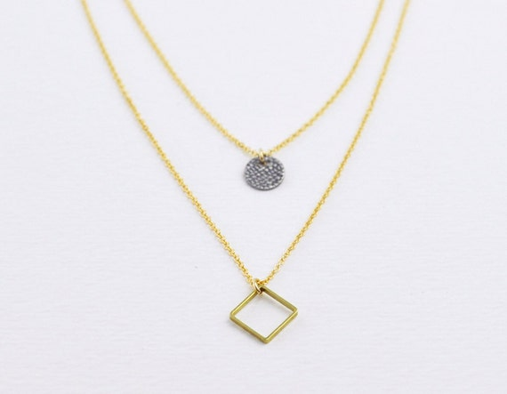 Layered necklace - diamond shaped necklace - circle necklace - brass necklace - minimalist necklace - gold filled chain - Diamond and dot