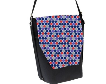 Convertible Backpack - Sling Purse - Shoulder Bag - iPad Purse - REMOVABLE FLAP - Dots Fabric