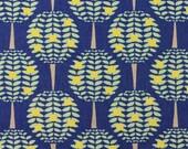 Kokka Japanese Fabric Folk Modern Ellen Luckett Baker - Citrus Trees - blue