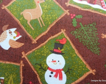 "Clearance SALE, One Half Yard Cut of Quilting Fabric, Christmas, ""Northwoods Friends"" Line, Patches on Brown, Sewing-Quilting-Craft Supplies"