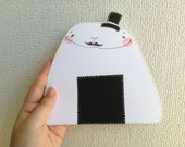 Origami Paper Collage Illustration - Ugly Cute Card - Monsieur Rice Ball - Japanese Kawaii Whimsical art, OOAK