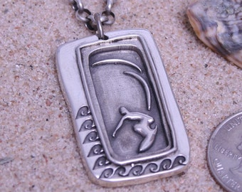surfing jewelry sterling silver surfer necklace father's day gift idea, gift for dad by zulasurfing