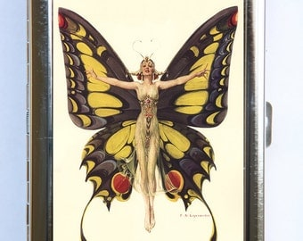 Art Deco Butterfly Flapper Women Cigarette Case id case Wallet Business Card Holder