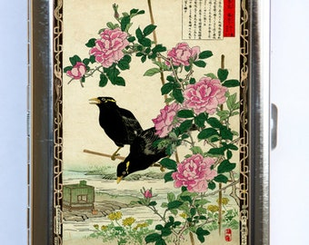 Japanese Crows Roses Cigarette Case Wallet Business Card Holder  tattoo woodblock