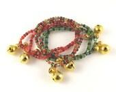 Stocking Stuffers Jingle Bell set of six seed bead stretchy charm bracelets size MEDIUM 7 inches
