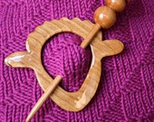 Wood Shawl Pin - Scarf Pin - Accessory for Knit and Crochet Scarves, Shawls, Wraps - Sheep Shape