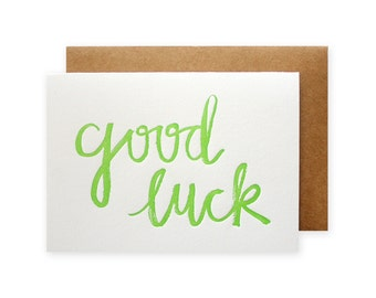 Good Luck Brush Letterpress Card