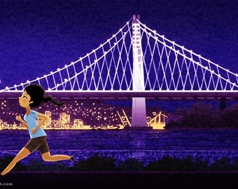"Oakland Art, Bay Bridge Art, Runner Art, Marathon Art - ""Oaktown"""