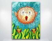 Puffer Fish Blowfish whimsical  Fine Art Giclée Print