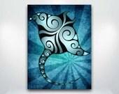 Blue Manta Ray Fine Art Giclée Print