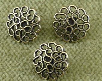 Shiny Bronze Brass Openwork Lacey Swirled Button I24