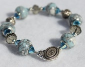 Faux Blue Marble Glass Bead Bracelet with Roses and Faceted Crystals