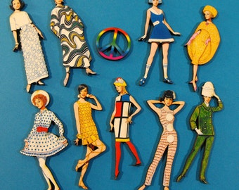 1960s Hip Fashion Models - Wood Cut Laser Craft Parts