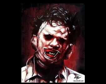 "Print 8x10"" - Leatherface - Texas Chainsaw Massacre Horror Halloween 70s Vintage Dark Art Blood Freddy Jason Scary Pop Scary Blood Monster"