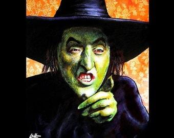 "Print 8x10"" - Wicked Witch of the West - Magaret Hamilton Wizard of Oz Miss Gulch Fantasy Pop Art Green Vintage Spooky Gothic Dark Art"
