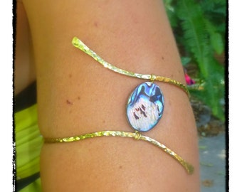 Hammered Upper Arm Cuff ~ Abalone Armband