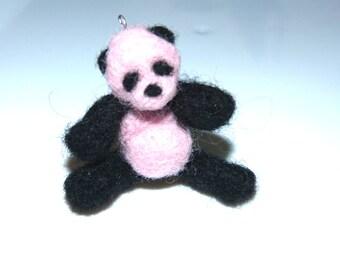 Handmade TEDDY BEAR Needle felted of 100% wool miniature collectible panda Home & Living , Bears