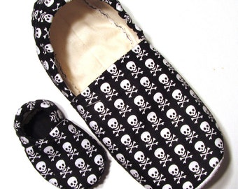 Skull and Crossbone Adult Slippers (matching baby sizes available)