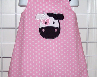 Cute Black and White COW Applique Monogram Pink Dot A-line Dress