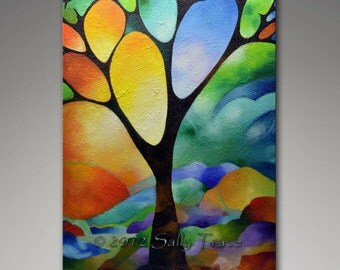 "Abstract landscape geometric tree giclee print on canvas from my original painting ""Tree of Joy"", stained glass appearance, 24x36"