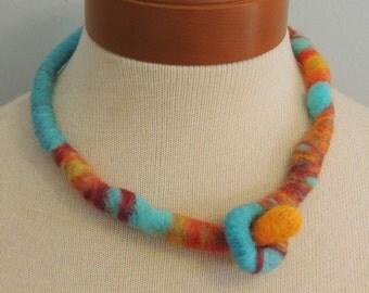Handcrafted Necklace - Felted Wool - Aqua Blue, Orange - KOI POND