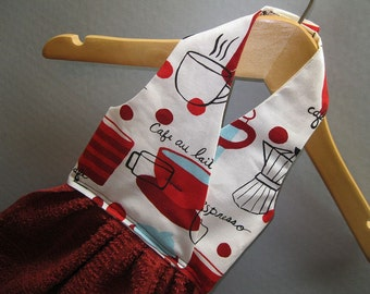 Hanging Dish Towel Red Coffee Cups