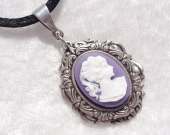 Lavender Lady- Antiqued Silver and Cameo Pendant