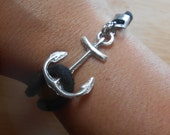 Sea Glass Anchor Bracelet - Beach Glass Friendship Jewelry - ANCHORS AWEIGH