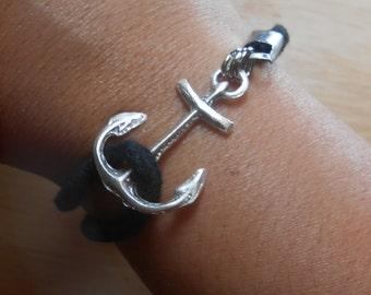 Sea Glass Anchor Bracelet - Beach Glass Friendship Jewelry - ANCHORS AWEIGH