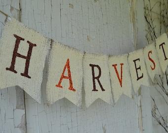 HARVEST....Beautiful Glitter Burlap Banner