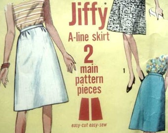 Vintage 60s Simplicity Sewing Pattern 28 Waist 38 Hip Jiffy A Line Skirt Easy To Sew Simple Quick