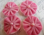 Pleated Velvet Flower Blooms with pearl centers Princess Pink