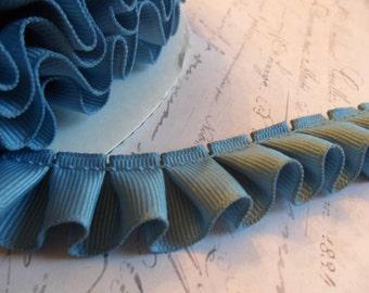 Dusty Blue Grosgrain Box Pleat  Ruffle Trim 7/8 inch