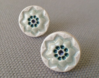 starflower post earrings, sage and peacock ... porcelain jewelry by Sofia Masri
