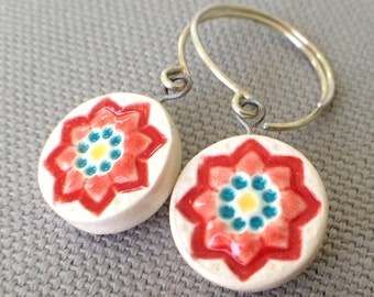 starflower earrings, blood orange and ocean ... handmade porcelain jewelry by Sofia Masri