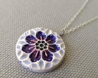 small wildflower necklace, periwinkle and plum ... porcelain jewelry by Sofia Masri