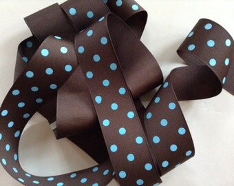 Grosgrain RIBBON - 1 1/2 Inch x 5 Yards - Blue Brown - Polka Dot