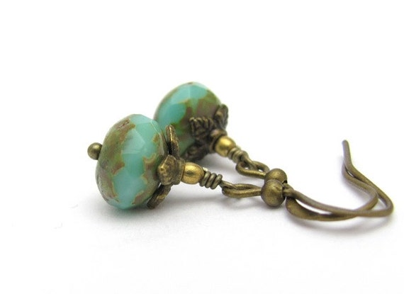 Turquoise Earrings, Faceted Blue Green Glass, Minimal Earrings, Dainty Dangles, Hawaii Jewelry, Antiqued Goldtone