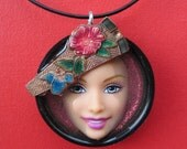 Upcycled Barbie Doll Face Pendant - Kendall