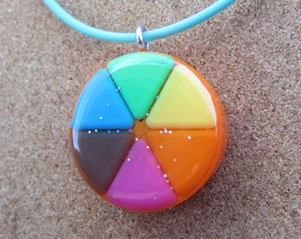 ORANGE - Upcycled Trivial Pursuit pendants