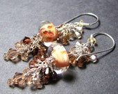Amber taupe  boro bead earrings  lampwork beads sterling silver Swarovski crystals handmade ear wires  -  GRAIN
