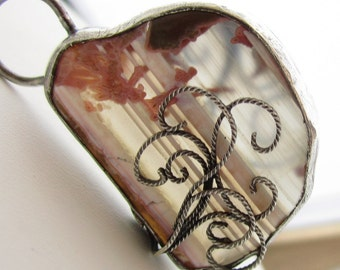 Foggy Glass Necklace - Banded Agate and Sterling Filigree