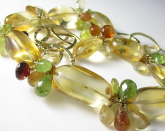 As Summer Sets Necklace - Citrine, 14k Gold Fill, Spessartite Garnet, Hessonite, Vesuvianite