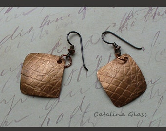 Copper Embossed Earring Pair SRA by Catalina Glass