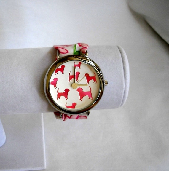 Silver Wristlet Watch with Pink Dogs and Lilly Pulitzer Fabric: You Pick Print
