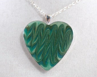 Green Heart Pendant - Green Stripe Heart Pendant - Polymer Clay Necklace - Silver Plated