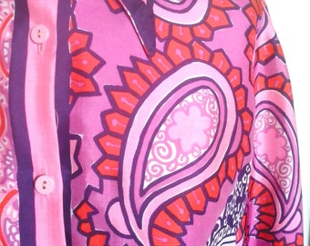 Vera Neumann Silk Blouse - Psychedelic Pink Paisley - a rare vintage 1960's hand-painted Shirt, Blouse, Top